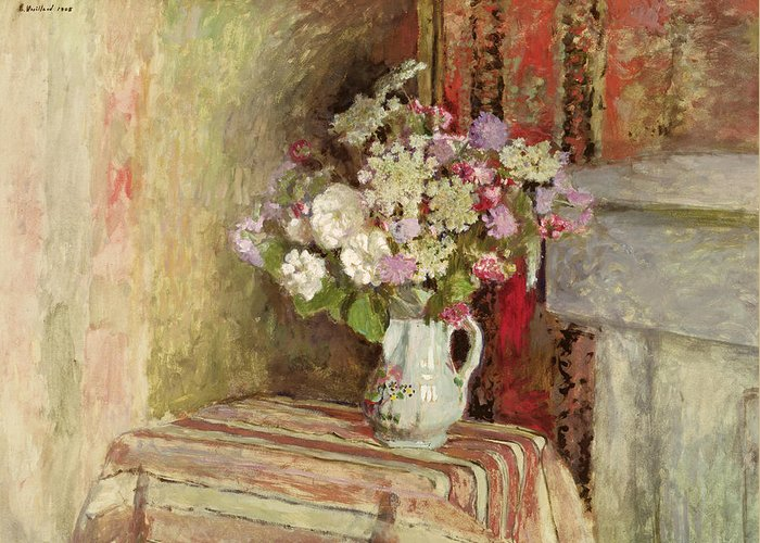 Fleurs Dans Un Vase; Interior; Bouquet; Vase; Arrangement; Still Life; Table; Roses; Lilac; Nabis; Post-impressionist; Interior Greeting Card featuring the painting Flowers In A Vase by Edouard Vuillard