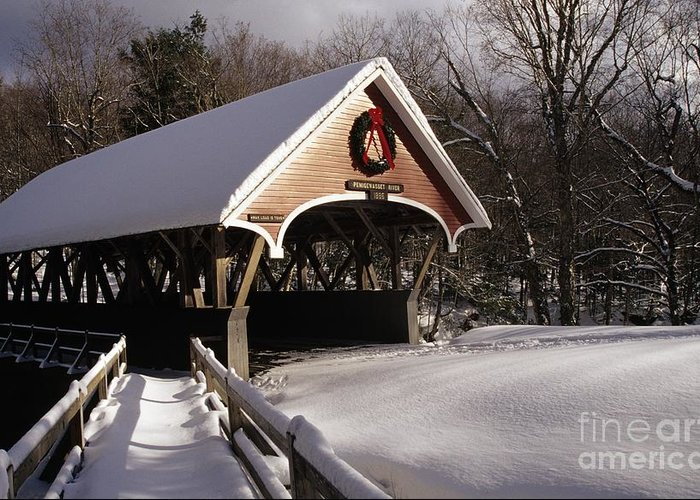 Franconia Notch State Park Greeting Card featuring the photograph Flume Covered Bridge - Lincoln New Hampshire Usa by Erin Paul Donovan