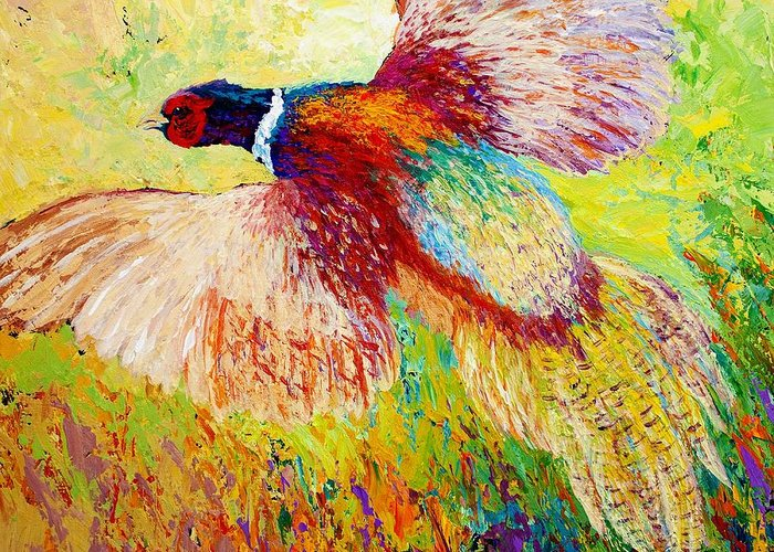 Pheasant Greeting Card featuring the painting Flushed - Pheasant by Marion Rose
