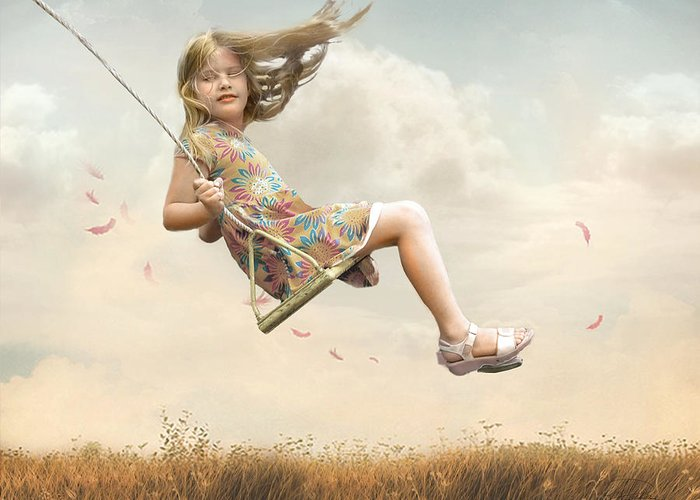 Girl Greeting Card featuring the photograph Flying by Joel Payne
