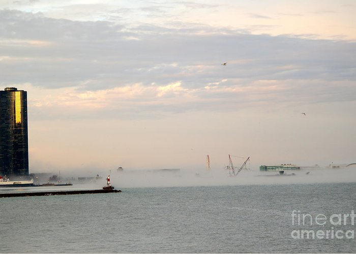 Chicago Illinois Greeting Card featuring the photograph Foggy Lake Point by David Bearden