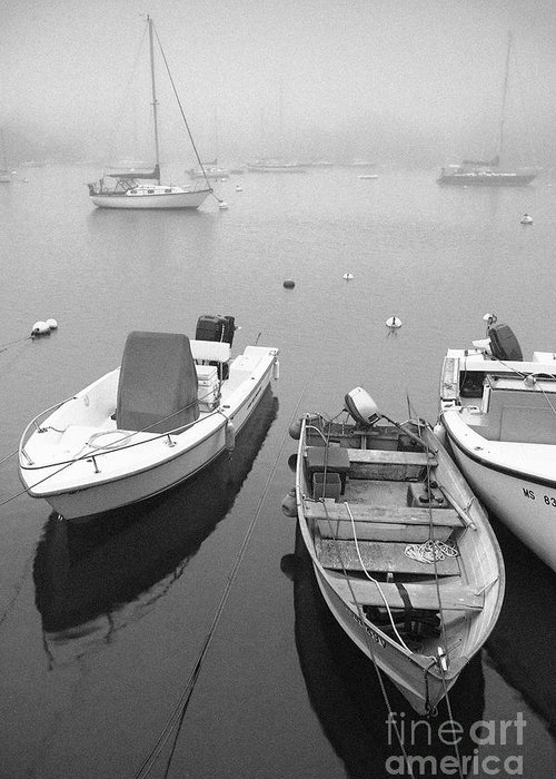 Black And White Greeting Card featuring the photograph Foggy Morning In Cape Cod Black And White by Matt Suess