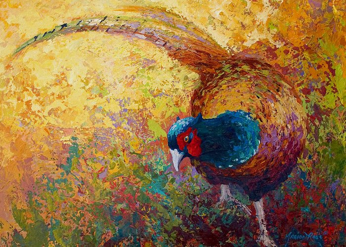 Pheasant Greeting Card featuring the painting Foraging Pheasant by Marion Rose