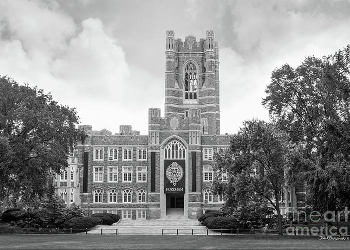 Fordham Greeting Card featuring the photograph Fordham University Keating Hall by University Icons