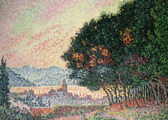Pointillism Greeting Card featuring the painting Forest Near St Tropez by Paul Signac