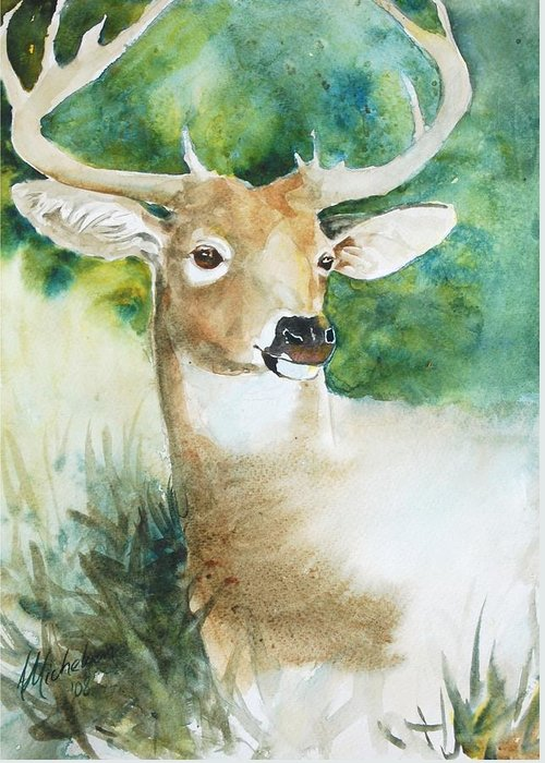 Deer Greeting Card featuring the painting Forest Spirit by Christie Michelsen