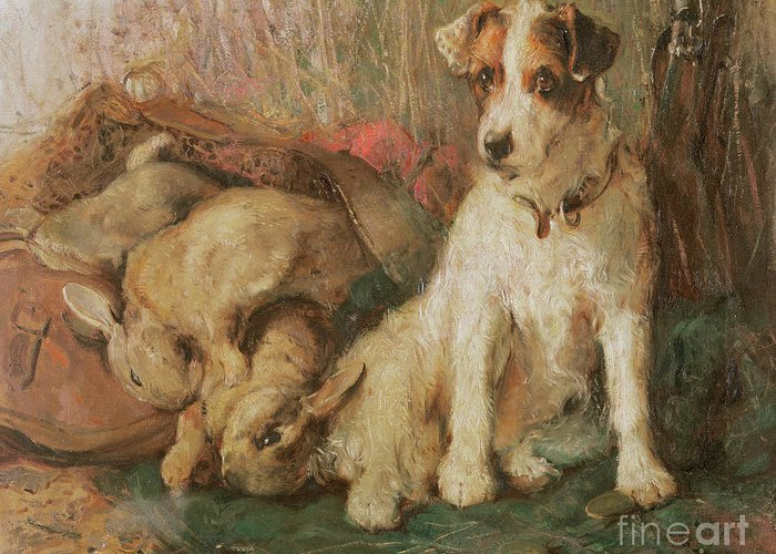 Dog Greeting Card featuring the painting Fox Terrier With The Day's Bag by English School