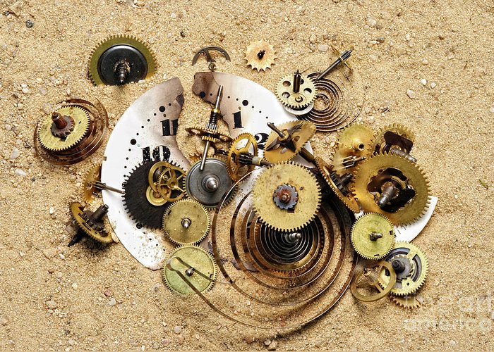Clockwork Greeting Card featuring the photograph Fragmented Clockwork In The Sand by Michal Boubin
