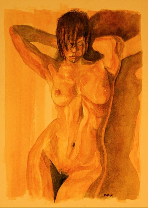 Female Nude Greeting Card featuring the painting Francesca by Dan Earle
