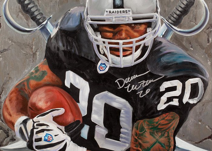 Darren Mcfadden Greeting Card featuring the painting Franchise by Jim Wetherington
