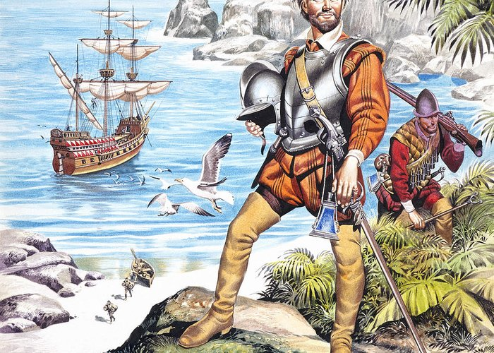 Francis Greeting Card featuring the painting Francis Drake And The Golden Hind by Ron Embleton