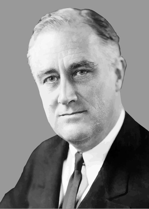 Franklin Roosevelt Greeting Card featuring the painting Franklin Delano Roosevelt by War Is Hell Store