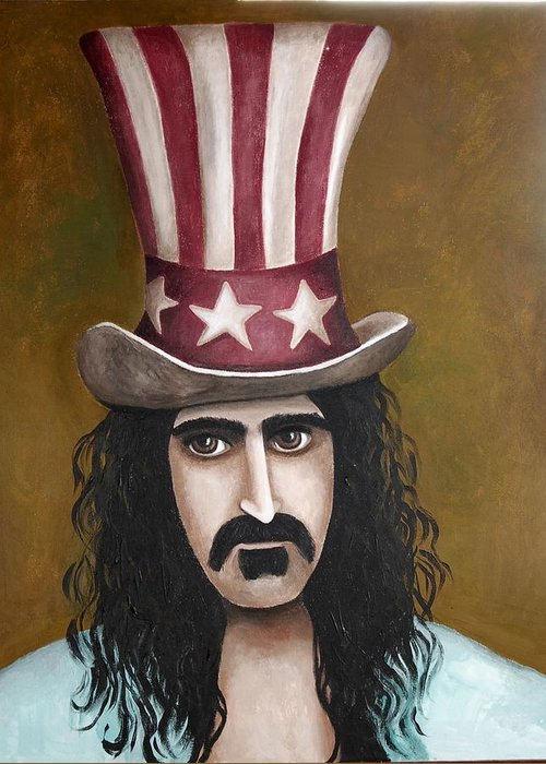 Frank Zappa Greeting Card featuring the painting Franks Hat by Leah Saulnier The Painting Maniac