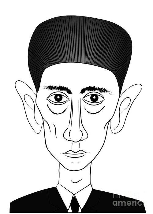 Kafka Greeting Card featuring the drawing Franz Kafka by Michal Boubin