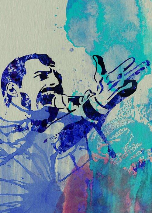 Freddie Mercury Greeting Card featuring the painting Freddie Mercury Queen by Naxart Studio