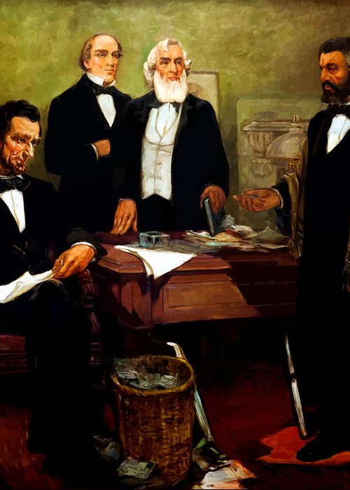 Frederick Douglass Greeting Card featuring the painting Frederick Douglass Appealing To President Lincoln by War Is Hell Store