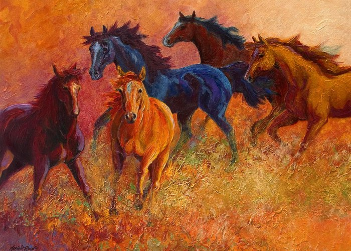 Horses Greeting Card featuring the painting Free Range - Wild Horses by Marion Rose