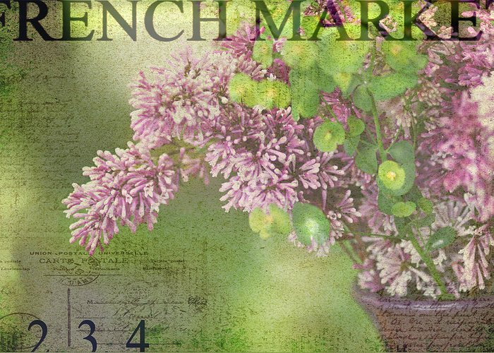 Lilac Greeting Card featuring the photograph French Market Series M by Rebecca Cozart