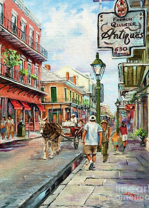 Royal Street Greeting Card featuring the painting French Quarter Antiques by Dianne Parks
