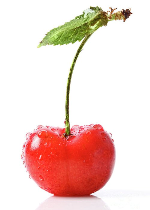 Agriculture Greeting Card featuring the photograph Fresh Red Cherry Isolated On White by Sandra Cunningham