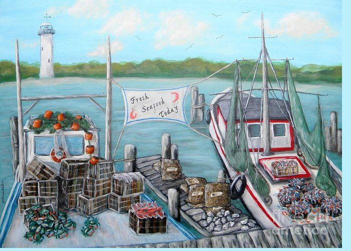 Coast Greeting Card featuring the painting Fresh Seafood by JoAnn Wheeler