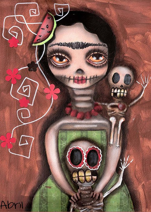 Day Of The Dead Greeting Card featuring the painting Frida Day Of The Dead by Abril Andrade Griffith