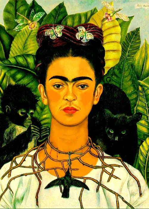 Frida Paintings Greeting Card featuring the painting Frida Kahlo Self Portrait With Thorn Necklace And Hummingbird by Pg Reproductions