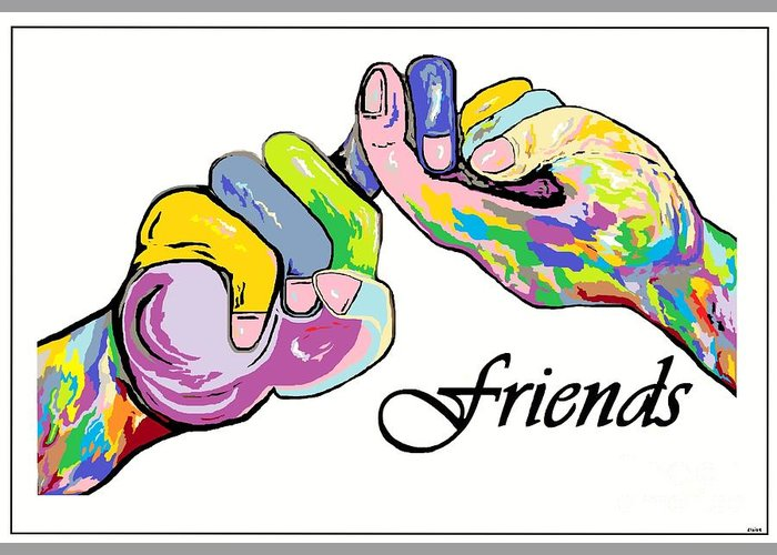 American Greeting Card featuring the painting Friends . . . An American Sign Language Painting by Eloise Schneider