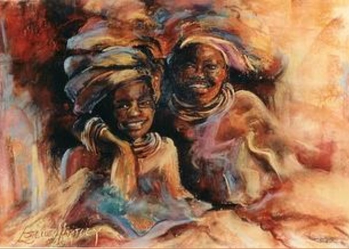 Africa Greeting Card featuring the pastel Friends by Estelle Hartley