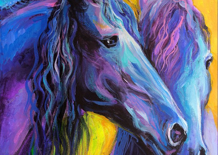 Contemporary Friesian Horse Painting Greeting Card featuring the painting Friesian Horses Painting by Svetlana Novikova