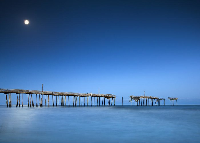 Frisco Pier Greeting Card featuring the photograph Frisco Pier Cape Hatteras Outer Banks Nc - Crossing Over by Dave Allen