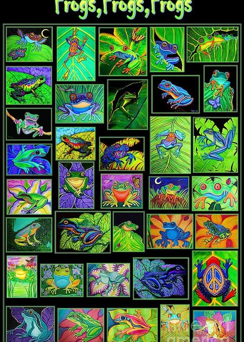 Frogs Greeting Card featuring the digital art Frogs Poster by Nick Gustafson