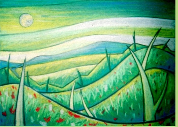 Pastel Greeting Card featuring the painting From West Mountain Looking East by Jason Charles Allen