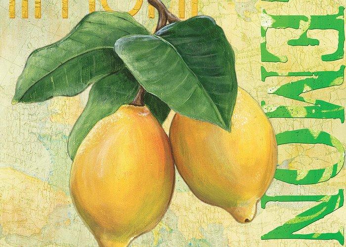 Lemon Greeting Card featuring the painting Froyo Lemon by Debbie DeWitt