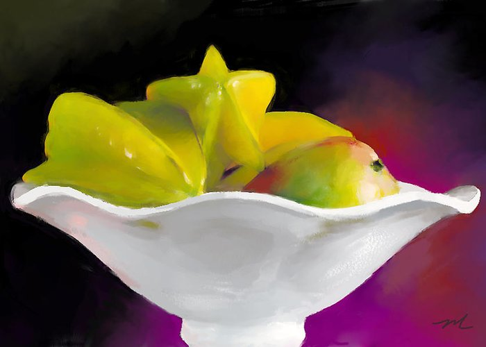 Star Greeting Card featuring the digital art Fruit Bowl by Michelle Wiarda