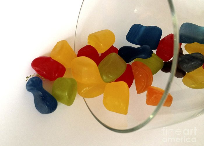 Gummi Candy Greeting Card featuring the photograph Fruit Gummi Candy by Cheryl Young