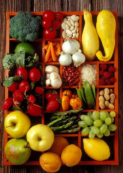 Fruits Vegetables Apples Grapes Compartments Greeting Card featuring the photograph Fruits And Vegetables In Compartments by Garry Gay
