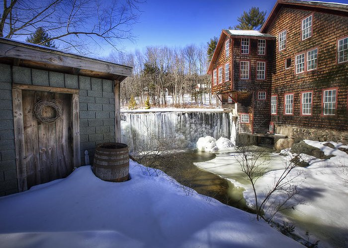 Frye's Greeting Card featuring the photograph Frye's Measure Mill by Eric Gendron