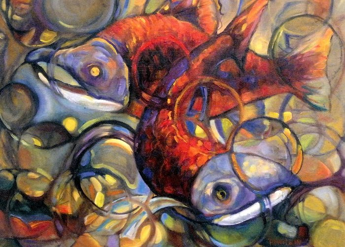 Salmon Greeting Card featuring the painting Full Circle by Peggy Wilson