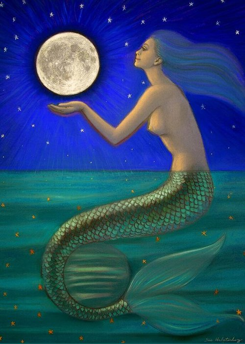 Mermaids Greeting Card featuring the painting Full Moon Mermaid by Sue Halstenberg