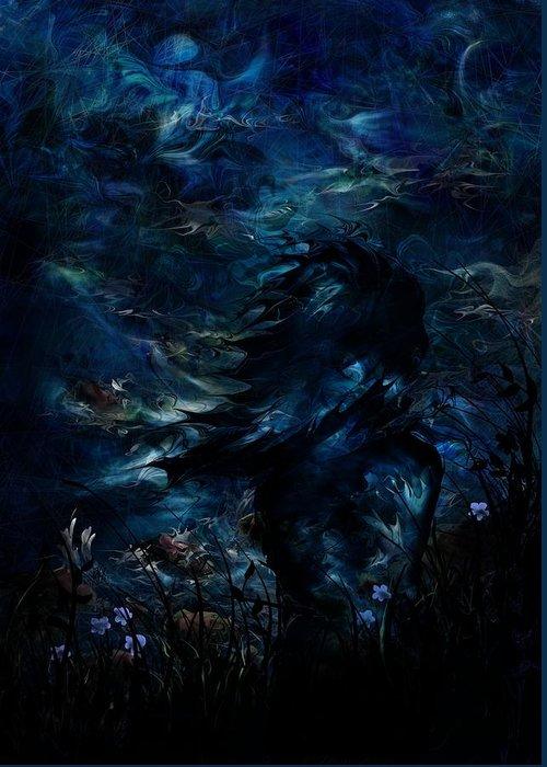 Moon Greeting Card featuring the digital art Full Moon by Rachel Christine Nowicki
