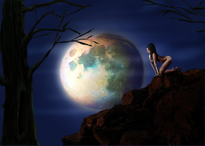 Moon Greeting Card featuring the digital art Full Moon by Virginia Palomeque