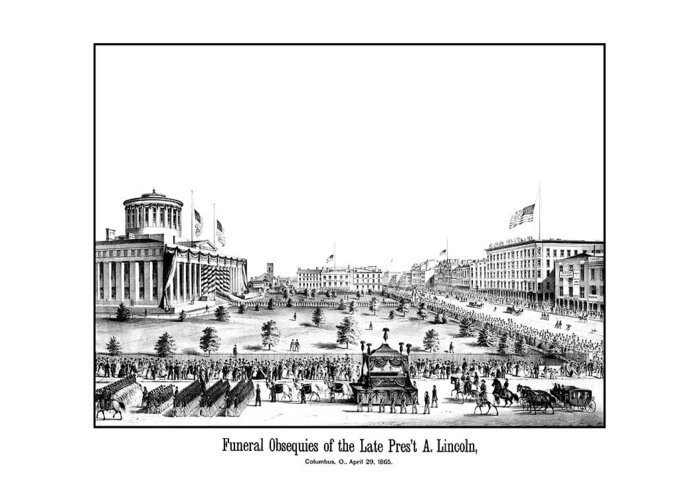 Lincoln Funeral Greeting Card featuring the drawing Funeral Obsequies Of President Lincoln by War Is Hell Store