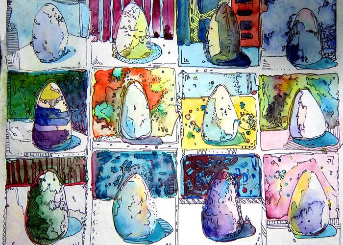 Eggs Greeting Card featuring the painting Funny Eggs by Mindy Newman