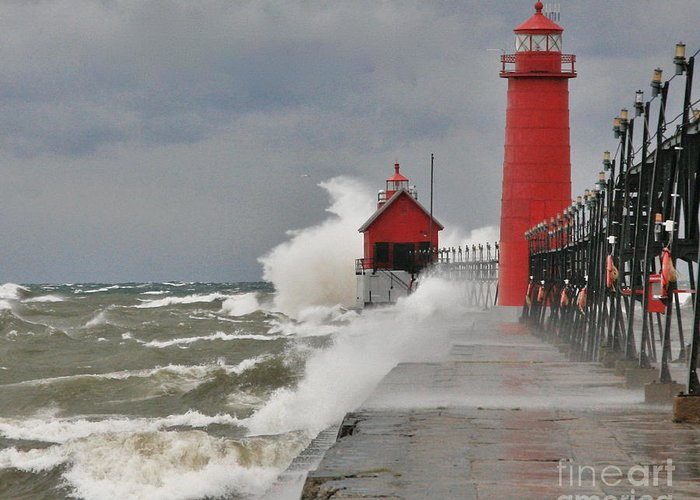 Light House Greeting Card featuring the photograph Gale Warnings by Robert Pearson