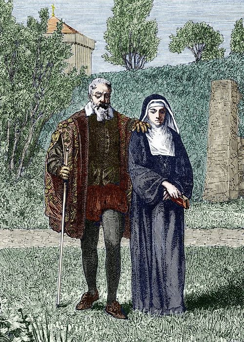 Virginia Gamba Greeting Card featuring the photograph Galileo And His Daughter Maria Celeste by Sheila Terry