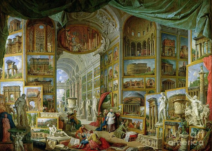 Gallery Of Views Of Ancient Rome Greeting Card featuring the painting Gallery Of Views Of Ancient Rome by Giovanni Paolo Pannini