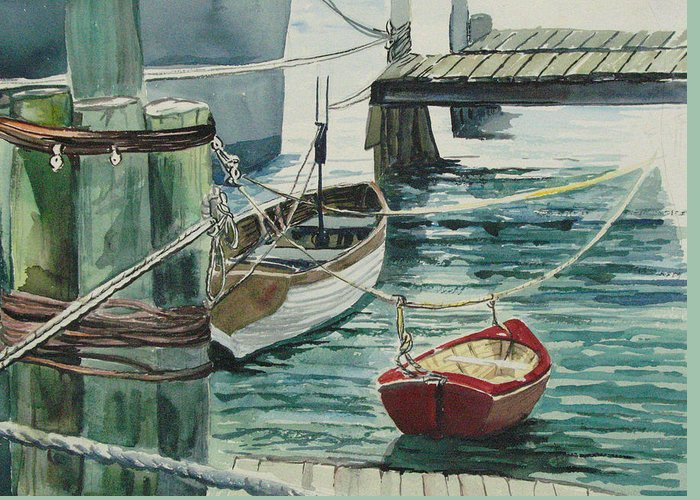 Galveston Greeting Card featuring the painting Galveston Boats Watercolor by Judy Loper