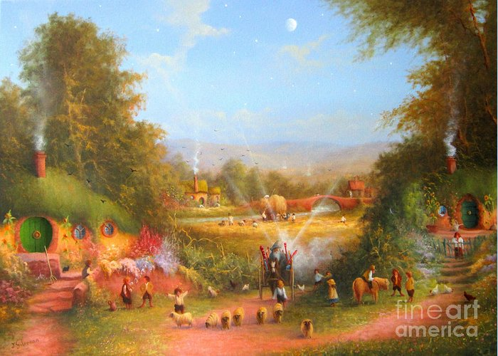 Lord Of The Rings Greeting Card featuring the painting Gandalf's Return Fireworks In The Shire. by Joe Gilronan