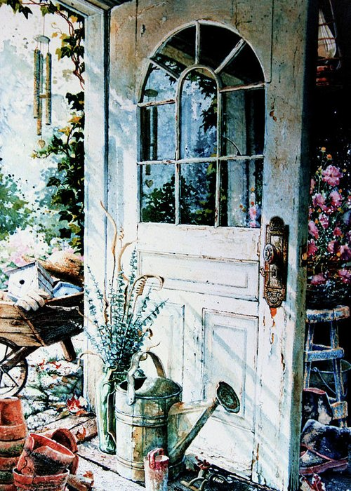 Garden Door Greeting Card featuring the painting Garden Chores by Hanne Lore Koehler